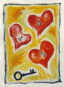 Keyharts eller Heart2Heart Oilbars på papir 108x80 cm