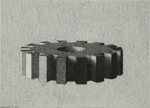 Tandmøtrik 5 marts 1985 tusch 30x42 cm