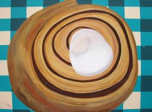 Jonna Pedersen - Naar kaffen er klar, akryl på lærred, 60 x 80 cm.