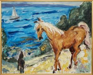 Af Tonie - Den gyldne hest, olie på lærred, 1981.