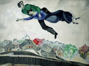 Marc Chagall - Over Byen, malet 1914-1918, olie på lærred, 139x197 cm