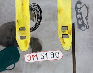 Jonna Pedersen - Jørgens Autohal 014, akryl på lærred, 110x140.