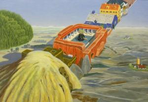 Bente Olesen Nyström, Det uendelige hus, gouache på papir, 62 x 90 cm