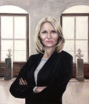 Ditte Eilerskovs portræt af statsminister Helle Thorning-Schmidt til Folketingets Vandrehal, 2017