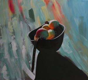 Külli Suitso - Hjelm fyldt med Æbler, 120x130 cm, feb 2015