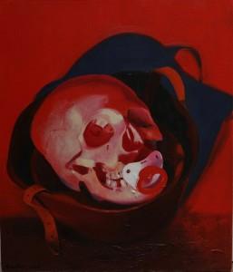 Külli Suitso - Hjelm og det ægte kranie, olie på lærred (60x80 cm), 2016