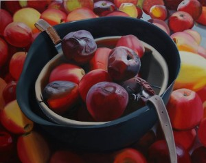Külli Suitso - WAR IS OVER. HELMET WITH ROTTEN APPLES, oil on canvas 120x150 cm, 2016