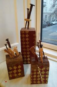 Strenge tider, To til Tango, Jomfruer med Tømmermænd - tre skulpturer af Erik Flygenring