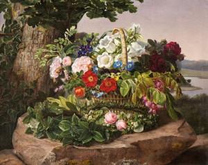J-L- Jensen - Kurv med blomster ved foden af et træ, 1840