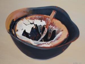 Külli Suitso - Hjelmen efter der er bagt brød i den, olie på lærred, 60 x 80 cm.