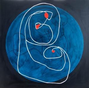 Tina Hille - Moderjord, akryl på lærred 100x100 cm